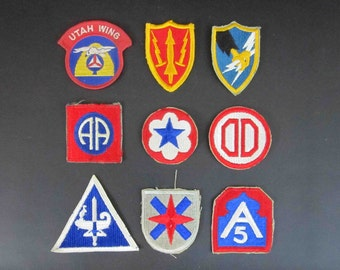 Vintage WWII - Vietnam Era Military Embroidered Patches