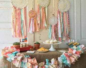 Dream Catcher Boho Style Coral And Aqua Dreamcatcher For Baby Shower Or Wedding