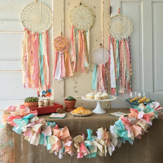Dream catcher custom made dreamcatcher for boho baby shower for Baby shower decoration sets