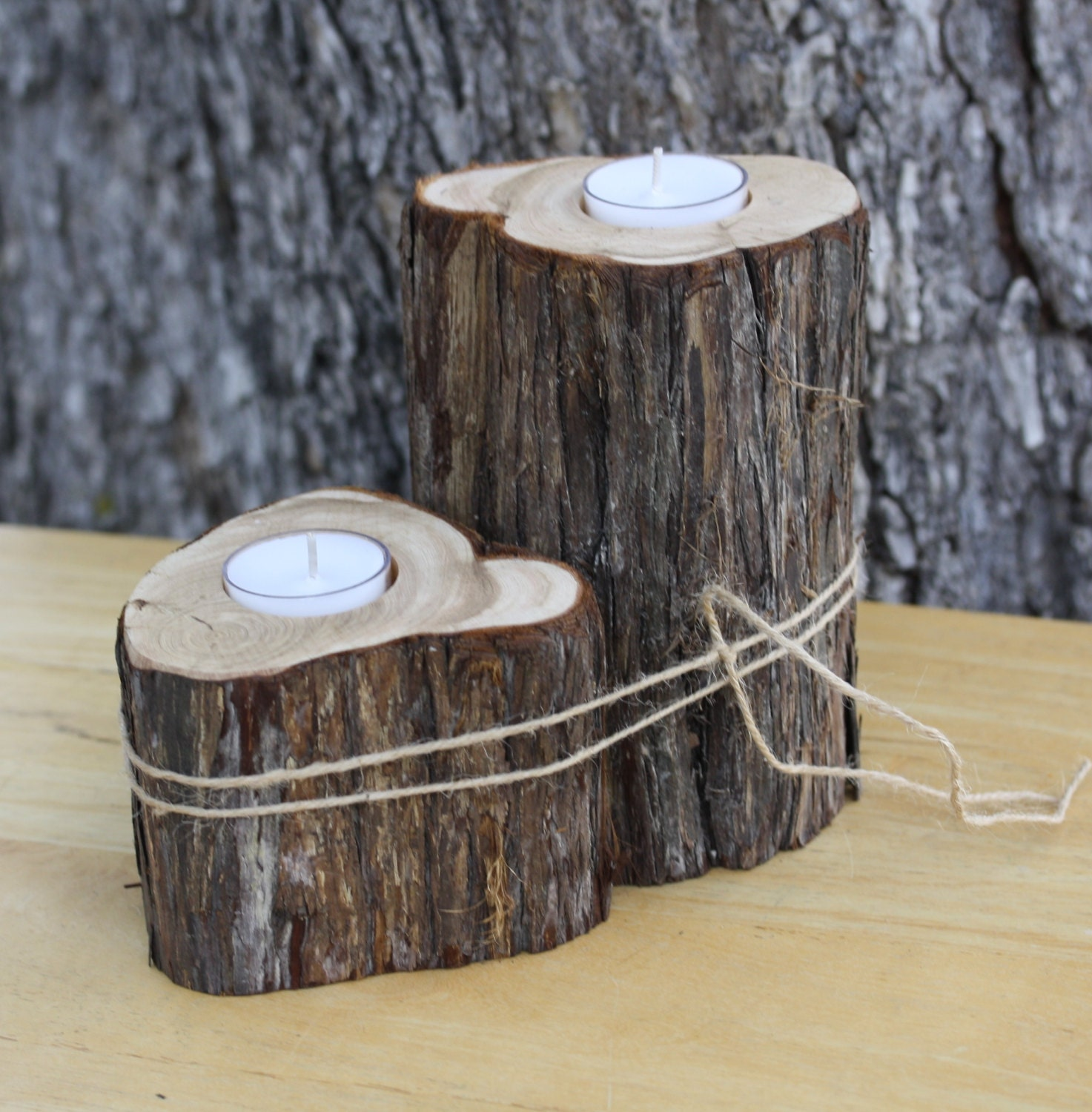 Rustic wedding decor candle votive holder centerpiece tree