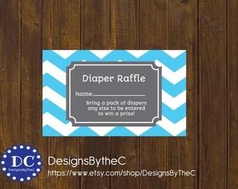 Blue Chevron Diaper Raffle Tickets, Diaper Raffle Ticket, Chevron, Blue Chevron, Blue and Gray, Baby Shower - Instant Download Printable