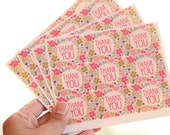 36 Square Flowery Thank You Stickers - FREE SHIPPING with other purchase