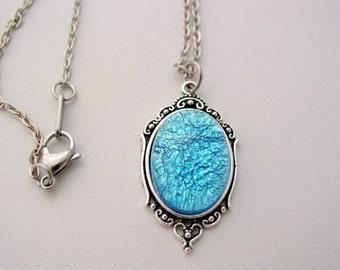 Blue Aqua Fire Opal Vintage Glass Cabochon Art Deco Picture Frame Style Oxidized Finish Necklace