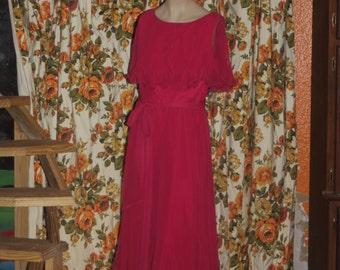 Vintage Hot Pink 70's Ruffle Party Dress Miss Elliette M