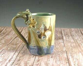 Handmade Cattail Ceramic Mug - Celedon Green - Dragonfly - Butterfly - Frog - Ready to Ship by Botanic2Ceramic - 728