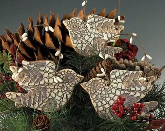 Bird Ornament, Christmas Ornament, Handmade Ceramic Ornament, Christmas Decor, Bird Art, Bird Lover Gift, Ornament Exchange, Gift Box