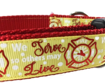 Dog Collar, Firefighters, 1 inch wide, adjustable, quick release buckle, metal buckle, chain, martingale, hybrid, heavy nylon, red, yellow