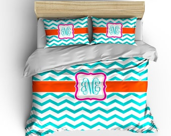 Personalized Custom Chevron Bedding - Available Toddler Twin, Queen, King size and Duvet Cover and Comforter Options