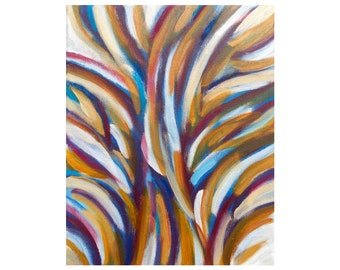 """Abstract Tree Painting, """"Spirit of the Trees 2"""", Original Acrylic 8x10 Canvas Wall Art, Modern Home Decor by Jessica Torrant"""