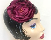 Raspberry Hair Clip - Raspberry Fascinator - Raspberry Brooch - Raspberry Pin - Satin Flower Brooch - Satin Petal Pin - Handmade in the USA