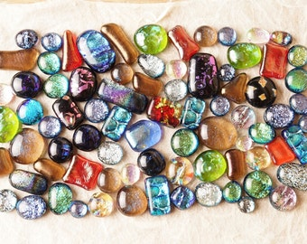 Lot of 80 Dichroic Fused Glass Beads Cabs Cabochons