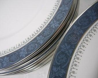 Royal Doulton Sherbrooke / 3 rimmed soup bowls and 9 salad plates / Blue band Black scrolls and Platinum rim / Elegant Bone china