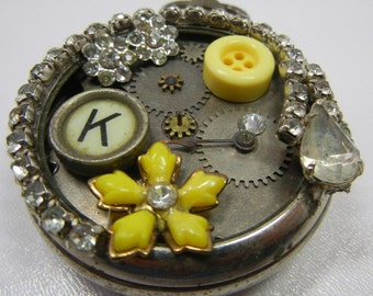 Embellished Westclox Pocket Watch / silver case with rhinestones and vintage button plus Typewriter key and jewelry bits / hand crafted