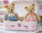 New! 2 Teddy Bear Knitting Patterns Deal/ TEAROOM Girl and Boy Bear Toy Patterns/ INSTANT Download/ Small Knitted Bears