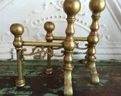 Vintage Antique Solid Brass Bookends Miniature Fireplace Andirons Ornate