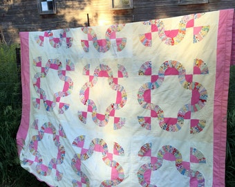 Antique Vintage  Feed Sack Quilt Hand Stitched Pink Cutter or use