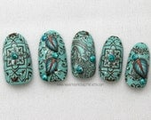 Turquoise Nail, Divine Forest Nail Art, Hippie Boho Style, Press On Nails, Acrylic Nails, Fake False Nail, Japanese Nail Art, Hippie Chic