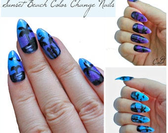 Color Changing Stiletto Nails- Press On Nails- Summer Nails- Stiletto Fake Nails- Long Nails- Acrylic Nail- Gothic Nail- Oval Nails-Nail Art
