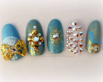 Cinderella Fake Nails, Glass Slipper Nails, Princess Nail Art, False Nails, Japanese 3D Nail Art, Cinderella, Custom Nails, 3D Fake Nails