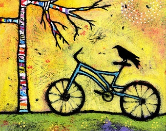 "Bicycle Art Print, Art for Kids Room, Bike and Raven Archival Print - 8"" x 8"""