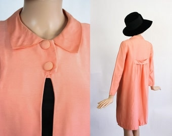 Vintage 60s Spring Jacket / 1960s Mod Mini Dress / Babydoll Dress Coat / Pastel Peach Melon / Fitted / Tailored / Mini Fit / Extra Small