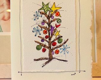 "ee cummings ""little tree"" ""Big Card"" 5x7 Watercolor Original betrueoriginals"