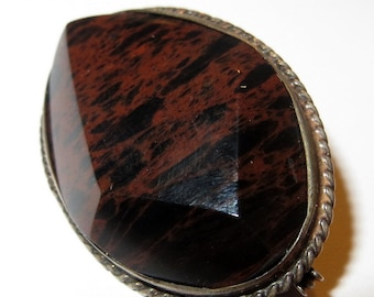 Mahogany Brown Black Agate Oval  Brooch Sterling Silver