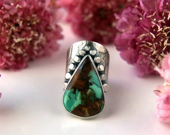 RESERVED - Finding the Ancient Way -  Turquoise Sterling Silver Ring