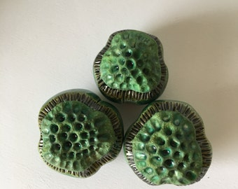 Three Matte Green and Glossy Green  Flower Pods Garden Art Trio