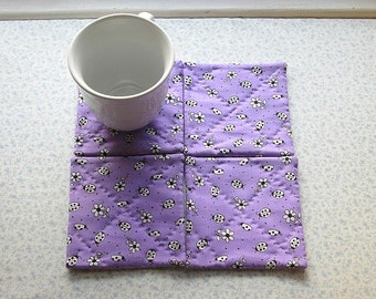 purple lady bugs set of mug rugs