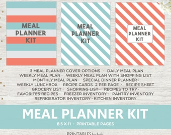 Meal Planner Printable, Letter Size, Weekly Meal Planner, Menu Planner, Grocery list, Weekly Menu Plan, Printable BIG Happy Planner - Mambi