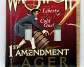 Liberty & a Cold One - Recycled Wasatch Brewing 1st Amendment Lager Double Light Switch Cover, Beer, Patriot, Colonial, Keg, Salt Lake, Utah