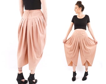 vintage DUSTY ROSE pleated tapered HAREM culottes M