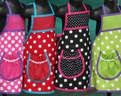 Kids Party Aprons - Pre-Teen Apron - Birthday Party Aprons - Polka Dot