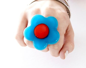 Glass ring, Boho Jewelry, Statement Ring - fashion ring, fall fashion, hippy ring, flower ring, gift for her, handmade ring