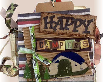 Camping Mini Scrapbook Album, Happy Campers, Vacation Album, Fishing Book, Hiking Book, Nature Scrapbook, Woodland, Forest, Outdoors Album,