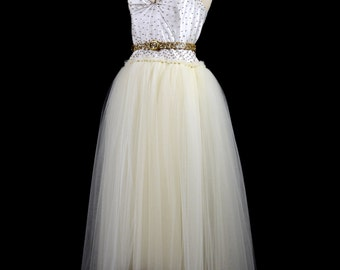 Julia - Gold Beaded Tulle Wedding Dress  - Made to Order