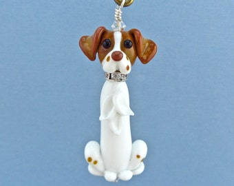 Brittany Spaniel Ornament or Pendant - Lampwork Glass Bead Creation - SRA