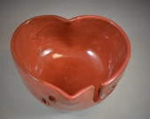 Yarn Bowl Heart Shaped Wheel Thrown Bowl in Cedar Shino Glaze- ready to ship in time for Valentines Day!
