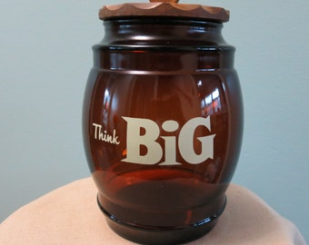 Large Think Big Amber Glass Jar with Wood Lid by Siesta Ware