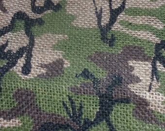 Camo Burlap Jute Upholstery Home Decor Fabric 48 Wide 1 Yard and 18 Inches Long