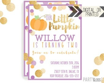 Pumpkin Invitation | Digital or Printed | Pumpkin Party | Glitter Pumpkin Invite | Girl Pumpkin | Gold Glitter Invitation | Little Pumpkin
