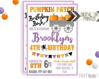 Pumpkin Patch Invitation | Digital or Printed | Pumpkin Party | Pumpkin Invite | Girly Pumpkin | Halloween Invitation | Little Pumpkin