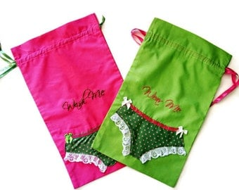 """Pair Laundry Bags  with  """"Wash Me"""" and """"Wear Me"""" Hand Embroidered - Bride Bachelorette Bridesmaid Gift/ Ready to Mail"""
