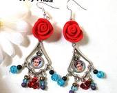 Frida kahlo Gypsy earrings style Day of the dead Dia de los muertos Mexico folk altered art Red ROSES Hot popular items