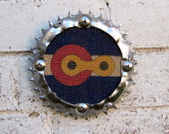 "5"" Recycled Bicycle Chainring Art Tile"