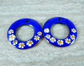 Cobalt Blue White Yellow Floral Enamel Earring Charm Pair, Enameled Copper Jewelry Componenets, Torch Fired, Boho, Bohemian, Rustic, 25 mm