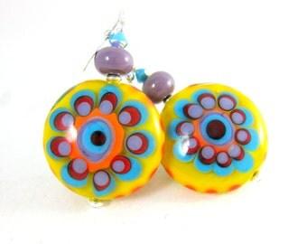 Colorful Hippie Earrings, Yellow Purple Blue Red Orange Funky Earrings, Large Flower Statement Earrings, Psychedelic Lampwork Glass Earrings