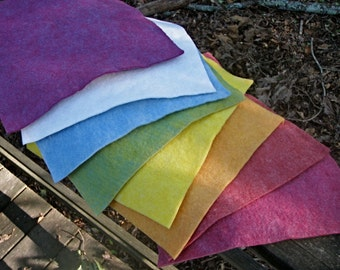 Rainbow Felt with White---Wool-Rayon Felt-- 9 1/2  X 9 1/2 Inches-- 8 Sheets--Plant Dyed