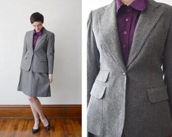 1970s Grey Wool Suit / Evan Picone Suit / Grey Blazer - M